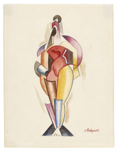 Alexander Archipenko, Women II, 1922, watercolor, graphite, and pencil on paper, the Museum of Fine Arts, Houston, gift of the Archipenko Collection. On view in Alexander Archipenko: The Berlin Drawings at the MFAH. © 2014 Estate of Alexander Archipenko / Artists Rights Society (ARS), New York