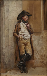 Jean-Louis-Ernest Meissonier The Smoker (A Man of the First Empire), 1873 Watercolor and gouache on paper Overall: 13 7/8 x 8 5/8 in. (35.2 x 22 cm) Private collection On view in Mind's Eye: Masterworks on Paper from David to Cézanne at the Dallas Museum of Art