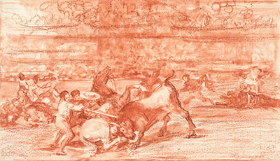 Francisco de Goya y Lucientes (1746-1828), Two Groups of Picadors Overrun Consecutively by a Single Bull, 1814-16. Red chalk and red-ink wash on laid paper. Hamburger Kunsthalle, Kupferstichkabinett (38541). On view in The Spanish Gesture: Drawings from Murillo to Goya in the Hamburger Kunsthalle at the Meadows Museum. Photo by Christoph Irrgang.