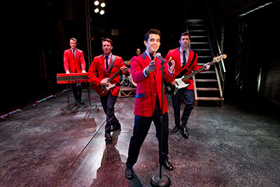Quinn VanAntwerp, Nicolas Dromard, Hayden Milanes and Adam Zelasko in Jersey Boys, presented by Fort Worth Performing Arts, June 3-15.  Photo by Jeremy Daniel.