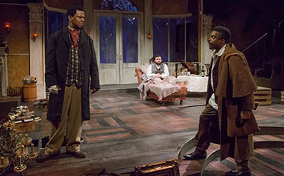 oseph Palmore, Ross Bautsch and Shawn Hamilton in The Whipping Man at Stages Repertory Theatre. Photo by Bruce Bennett.