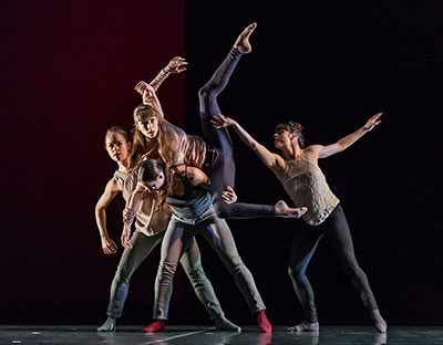 Grace Morton, Ashley Lynn, Oren Porterfield and Michelle Thompson The Space Between by James Gregg as part of New American Talent at Ballet Austin. Photo by Tony Spielberg.