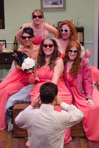 Margaret Lewis, Elizabeth Keel  and Briana RezaNikki Wuertz, Jennifer Decker and HR Bradford in Mildred Umbrella's production of Five Women Wearing the Same Dress. Photo by Gentle Bear Photography.