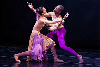 Dance Theatre of Harlem dancers Fredrick Davis and Gabrielle Salvatto in The Lark Ascending. Photo by Matthew Murphy.