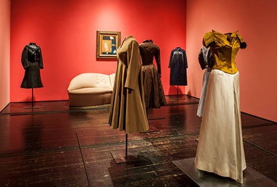 Installation view of A Thin Wall of Air: Charles James at the Menil Collection. Photograph by Paul Hester.