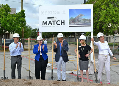 George Levan, Mayor Annise Parker, Garnet Coleman, Emily Todd, Ann Stern at the groundbreaking for the MATCH in Houston.