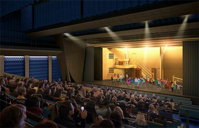 MATCH's large theater can accommodate  400 children and 350 adults. Credit: Lake | Flato & Studio RED