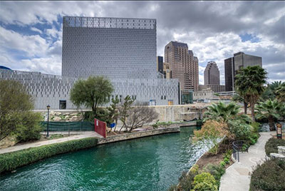 Audiences can arrive by water taxi at the new Tobin Center for Performing Arts in San Antonio. Photo by Siggi Ragnar.
