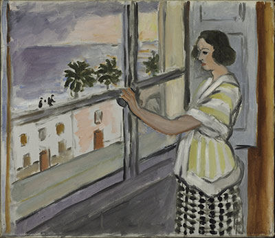 Henri Matisse French, 1869-1954 Young Woman at the Window, Sunset, 1921 Oil on canvas; h. 20 11/16 in. (52.5 cm), w. 20 5/8 in. (52.4 cm) The Baltimore Museum of Art: The Cone Collection, formed by Dr. Claribel Cone and Miss Etta Cone of Baltimore, Maryland, BMA 1950.245 Photography by Mitro Hood ©2014 Succession H. Matisse / Artists Rights Society (ARS), New York.