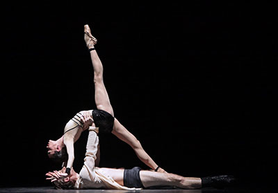 Ian Casady and Amy Fote in Houston Ballet's production James Kudelka's Little Dancer. Photo by Amitava Sarkar.