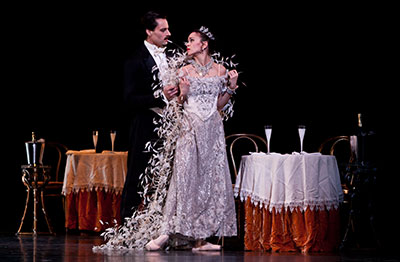 Amy Fote and Simon Ballet in the Houston Ballet production of The Merry Widow. Photo by Amitava Sarkar.