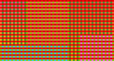 Mariah Dekkenga uses shifting gingham cloth patterns in a massive projection and in a screensaver available on MASS Gallery's website.