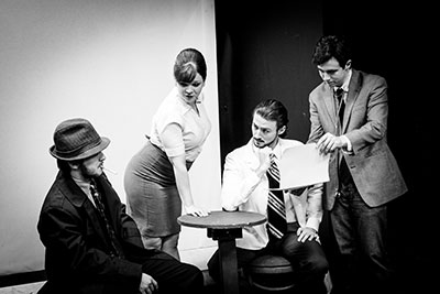 Nate Bizzell, Morgan Clyde, Chris Lombardo and Kyle Barbre in Glen or Glenda at The Overtime Theater through July 12. Photo by Edward Wise Photography.