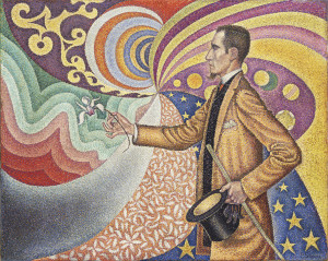 Paul Signac (French, 1863–1935), Opus 217. Against the Enamel of a Background Rhythmic with Beats and Angles, Tones and Tints, Portrait of M. Felix Fénéon in 1890, 1890-1891, oil on canvas, 29 x 36-1/2 in. Fractional gift of a private collector to The Museum of Modern Art, New York. Digital image © The Museum of Modern Art/Licensed by SCALA/Art Resource, NY. On view through Sept. 7 in Face to Face: The Neo-Impressionist Portrait, 1886-1904 at the Indianapolis Museum of Art.