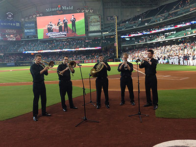 ROCO Brass Quintet playing before the ASTROS game at Minute Maid Field. George Chase, Gavin Reed, Ilan Morgenstern, Thomas Hulten and Logan Kavanaugh. Photo courtesy of River Oaks Chamber Orchestra.
