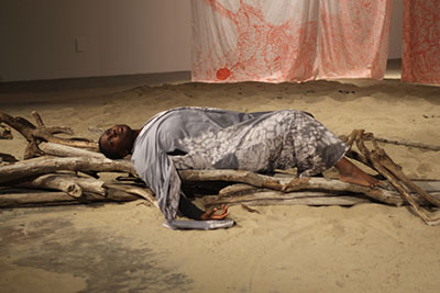The Ghost of Robert Rauschenberg, Autumn Knight, performance, 2014 Photo courtesy of the artist.