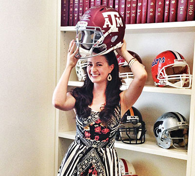 Texas Ballet Theater dancer Angela Kinney's sporting an Aggies helmet. Photo courtesy of Texas Ballet Theater.