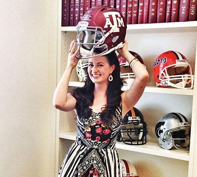 Texas Ballet Theater dancer Angela Kinney's sporting an Aggies helmet. Photo courtesy of Texas Ballet Theater.