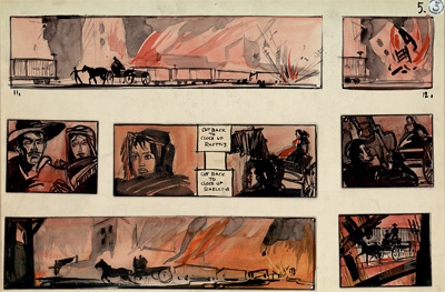 Storyboard depicting burning of Atlanta by Production Designer William Cameron Menzies. Image courtesy Harry Ransom Center.