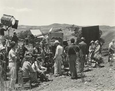 Film crew for the cotton field scene. Image courtesy Harry Ransom Center.