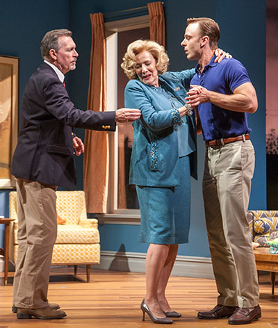 (L-R) Cotter Smith as Howard Ratliff, Betty Buckley as Gertrude Hayhurst Sylvester Ratliff and Jay Sullivan as Tom Underwood in the Alley Theatre's production of The Old Friends. Photo by John Everett.