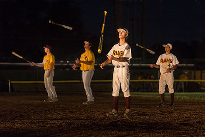 Huston-Tillotson Baseball Team members JT Vinson, Andres Martinez, Brennon Veazey, David Enriquez in Allison Orr's Play Ball. Photo by Leon Alesi.