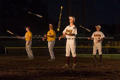 Huston-Tillotson Baseball Team members JT Vinson, Andres Martinez, Brennon Veazey, David Enriquez in Allison Orr's Play Ball. Photo by Leon Alesi.
