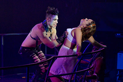 Justin Labosco, Morgan Mabry Mason and Walter Lee in DTC's The Rocky Horror Show.  Photo by Karen Almond.