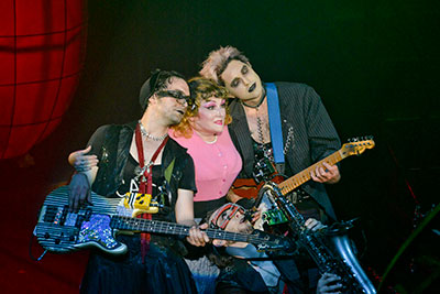 Daniel Garcia, Julie Johnson and Chris McQueen in DTC's The Rocky Horror Show.  Photo by Karen Almond.