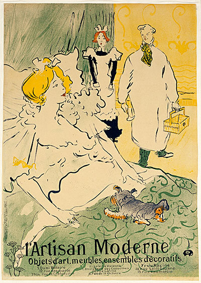 Henri de Toulouse-Lautrec L'Artisan moderne, 1896 Crayon brush and spatter lithograph with scraper, printed in four colors, 35 7/16 in. x 25 in. Blanton Museum of Art Gift of John S. and Patricia A. Corcoran, 2000