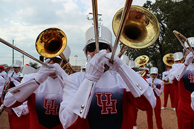 University of Houston Spirit of Houston Cougar Marching Band.  Photo courtesy of Cynthia Woods Mitchell Center for the Arts.