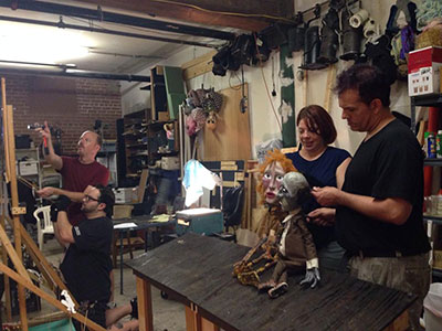 Bobbindoctrin Puppet Theatre rehearsing Danse Macabre. Photo by Camella Clements.
