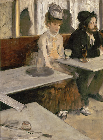 Edgar DegasIn a Café (Absinthe), 1875–76Oil on canvas, 36 1/4 x 27 in. (92 x 68.5 cm) Musée d'Orsay, Paris