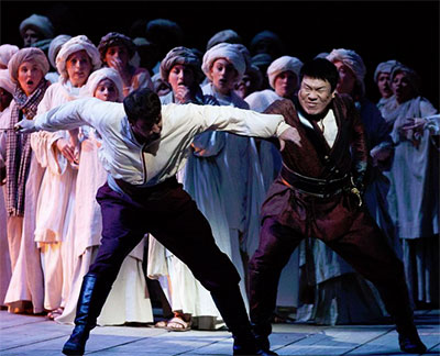 Norman Reinhardt and Peixin Chen in HGO production of Otello Photo by Lynn Lane.
