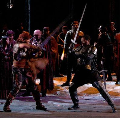 Leraldo Anzaldua wielding a sword in the HGO production of  Il Trovatore. Photo by Brett Coomer, courtesy of Houston Grand Opera.