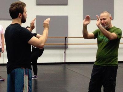 Leraldo Anzaldua rehearsing with the Cast of HGO's Otello. Photo courtesy of HGO.