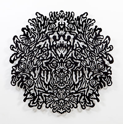 Jimmy Joe Roche, Reflective Monochrome (Black), 2014, laser cut, powder coated aluminum. All photos are Courtesy of the Artist and Erin Cluley Gallery. Photo by Kevin Todora