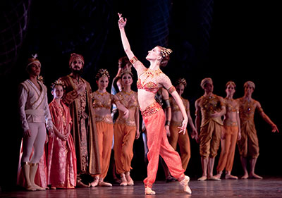 Kelly Myernick with Artists of Houston Ballet in La Bayadere. Photo by Amitava Sarkar.