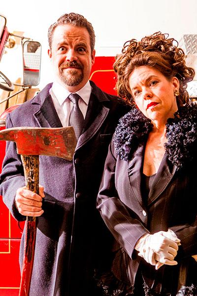 Max Hartman (Gottlieb Biedermann) and Karen Parrish (Babette) in Kitchen Dog Theater's production of The Arsonist. Photo by Matt Mrozek.