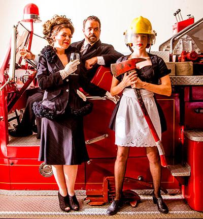 Karen Parrish (Babette), Max Hartman (Gottlieb Biedermann) and Jenny Ledel (Anna) in  in Kitchen Dog Theater's production of The Arsonist. Photo by Matt Mrozek.