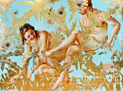Angela Fraleigh, carried by voices, 2014 oil, 23 ct gold and metal leaf and galkyd on canvas, 66 x 90 inches