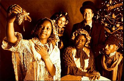 Qynetta Caston, Brandi Andrade, Stormi Demerson, Stan Graner and Vontress Mitchel in Theatre 3's production of A Civil War Christmas. Photo by Jeffrey Schmidt.