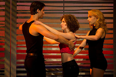 Samuel Pergande (Johnny), Jillian Mueller (Baby) and Jenny Winton (Penny) in Dirty Dancing. Photo by Matthew Murphy.