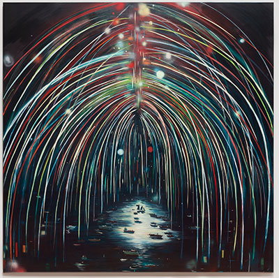 Jules de Balincourt Illuminated, 2012 Oil, oil stick, spray paint, and acrylic on canvas 96 x 96 inches (243.8 x 243.8 cm)