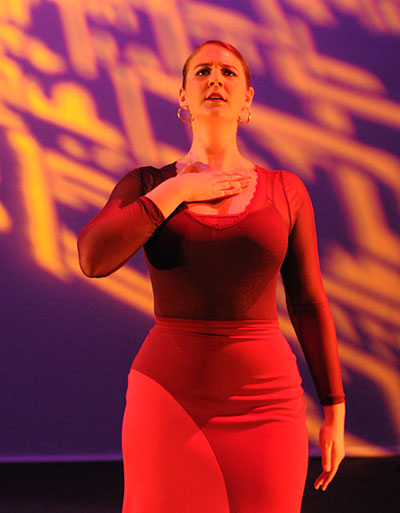 Claire Spera in the January 2014 Austin premiere of A'lante Flamenco Dance Ensemble's Prophecies. Photo by Pete Flaig.