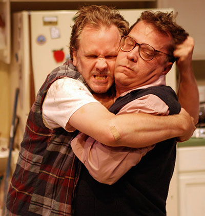 Andrew Thornton and Rick Frederick in AtticRep's 2008 production of True West. Photo by Siggi Ragnar.