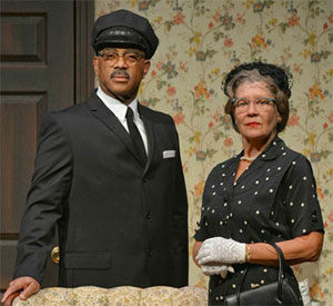 Annalee Jefferies and Hassan El-Amin in Dallas Theater Center's production of Driving Miss Daisy. Photo by Karen Almond.
