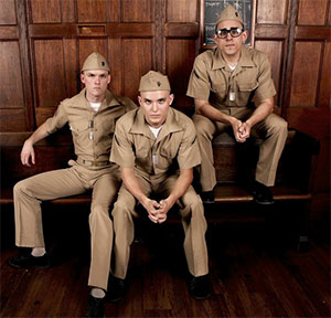 Kyle Igneczi, Zak Reynolds, Matt Ransdell, Jr. in Watertower Theatre production of Dogfight. Photos by Kelsey Leigh Ervi.