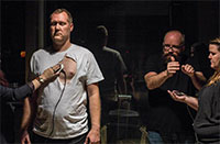 Flinching Eye Collective members Tobias Fike and Matthew Weedman (Modulation of Live Human Heart Beat) at Nicole Longnecker Gallery. Photo by Justin Zachary.