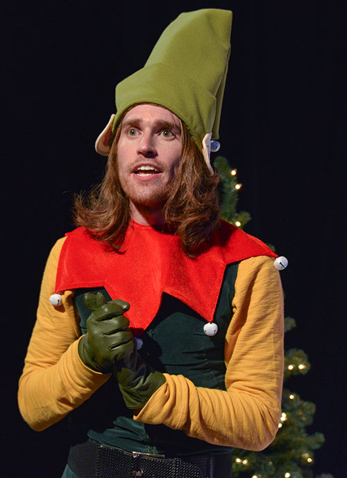 Garret Storms in THE SANTALAND DIARIES Photos by Kelsey Leigh Ervi. Courtesy Watertower Theatre, Addison.